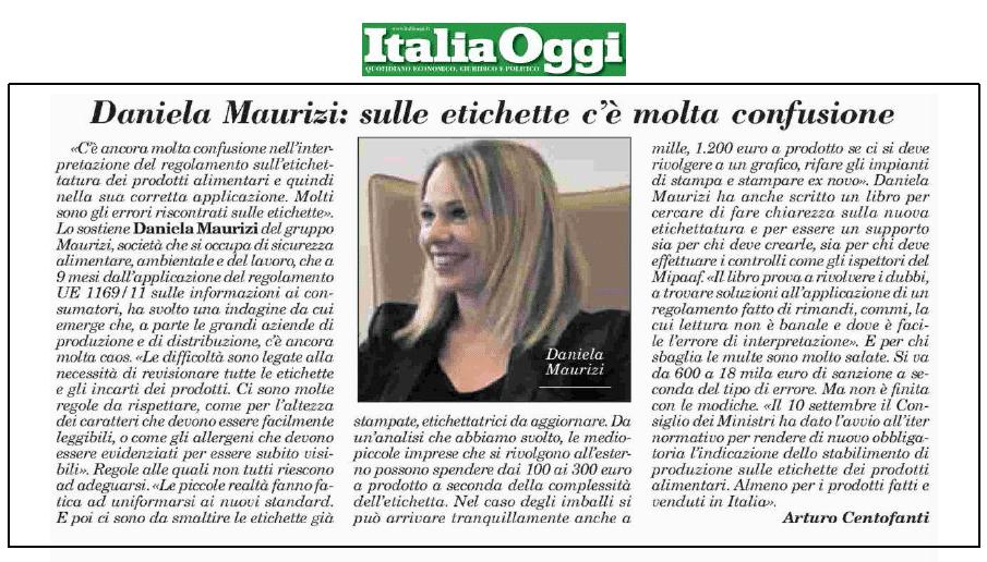Italia Oggi intervista Daniela Maurizi su etichette