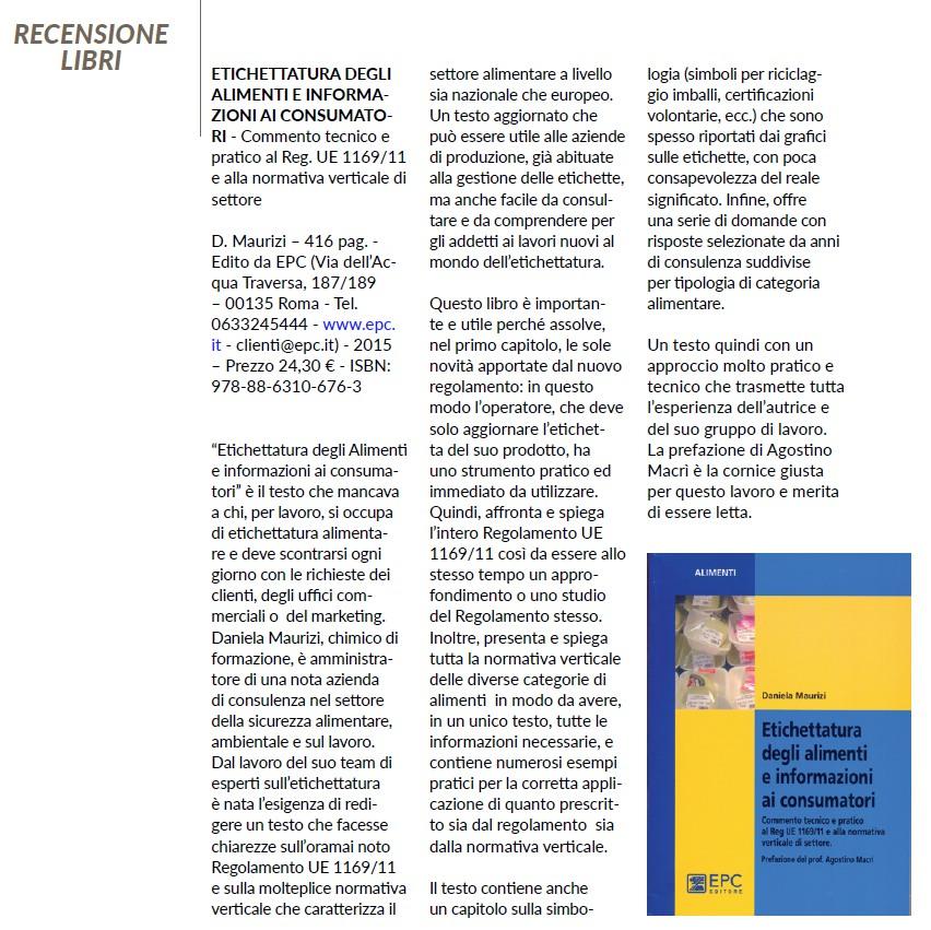recensione libro Etichettatura degli alimenti e informazioni ai consumatori