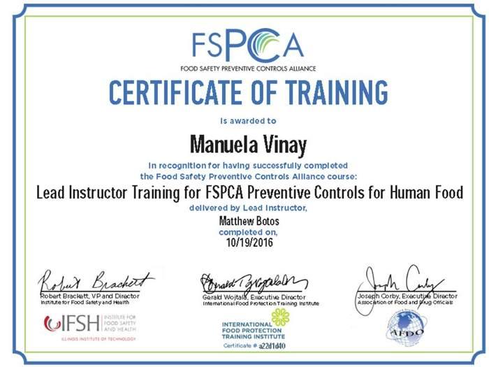 Manuela Vinay Lead instructor attestato