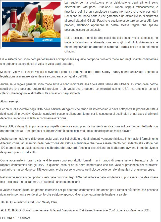 recensione libro food safety plan