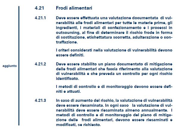 frodi alimentari tabella novità ifs